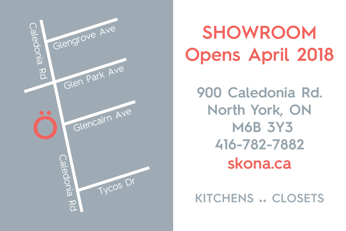 Skona Showroom Opening postcard map